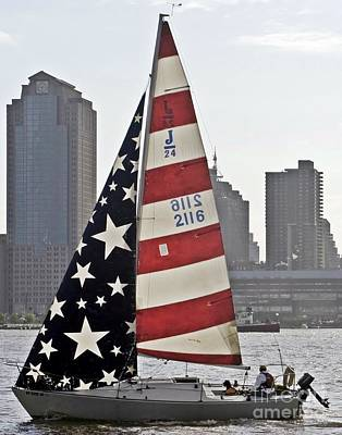 Art Print featuring the photograph Star Spangled Sail  by Lilliana Mendez