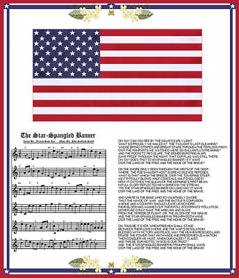 Painting - Star Splangled Banner Music  Lyrics And Flag by Anne Norskog