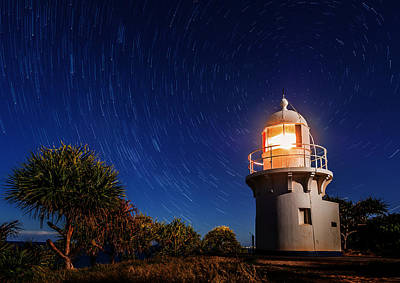 Photograph - Star Swirl Over Fingal Lighthouse by Photography By Byron Tanaphol Prukston