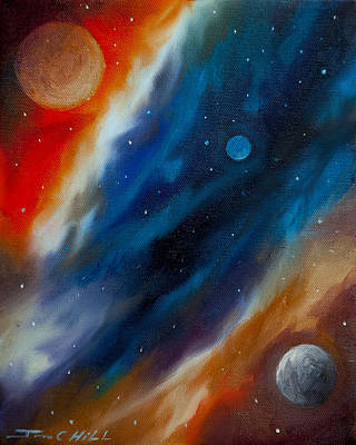 Mars Black Painting - Star System 2034 by James Christopher Hill