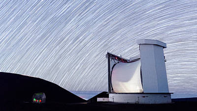 Photograph - Star Trails Above Cso And Jcmt by Jason Chu