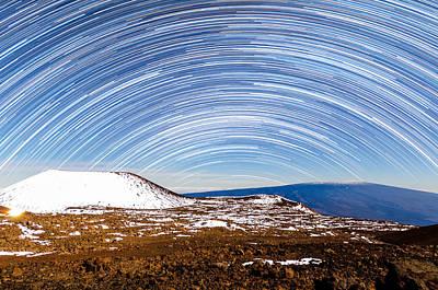 Photograph - Star Trails Above Snowy Mauna Loa by Jason Chu