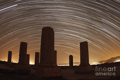 Celestial Pillars.celestial Photograph - Star Trails Above The Private Palace by Amin Jamshidi