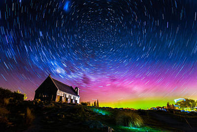 Observer Photograph - Star Trails And Aurora Light At Church Of The Good Shepherd  by Rattapon Wannaphat