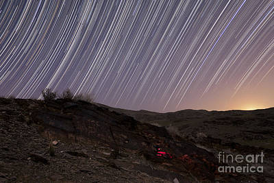 Star Trails And Rock Art In The Central Art Print by Amin Jamshidi