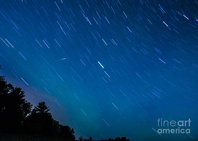 Photograph - Star Trails And Shooting Star Marquette Michigan by Deborah Smolinske