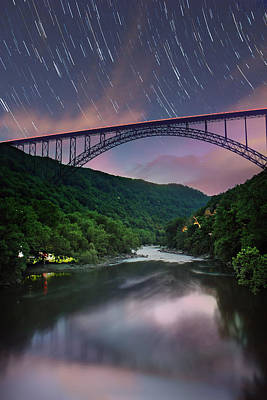 Photograph - Star Trails At New River by Mary Almond