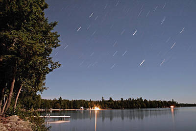 Photograph - Star Trails At The Lake by Barbara West