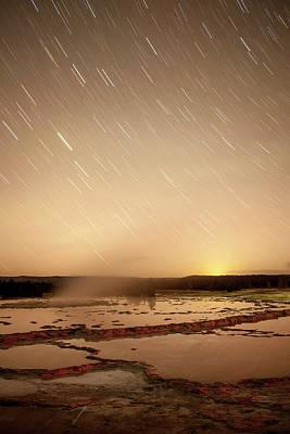 Star Trails Over Active Geyser Art Print
