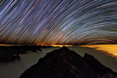 La Galaxy Photograph - Star Trails Over Caldera De Taburiente by Babak Tafreshi