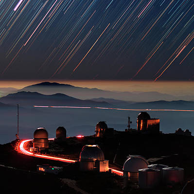 Star Trails Over La Silla Observatory Art Print