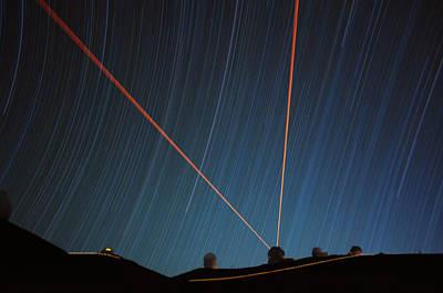 Star Trails Over Mauna Kea Observatory Art Print