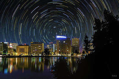 Star Trails Over Oakland Art Print by PhotoWorks By Don Hoekwater