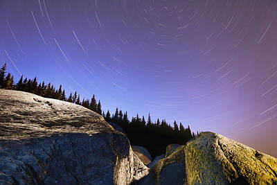 Star Trails Over Rocks In Saguenay-st Print by Yves Marcoux
