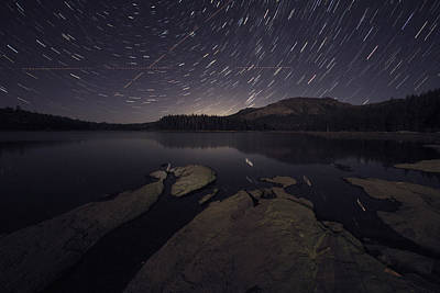 Star Trails Over Silver Lake Resort Art Print