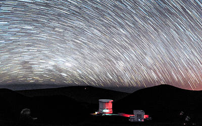 Photograph - Star Trails Over Submillimeter Valley by Jason Chu