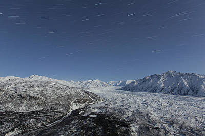 Star Trails Over The Matanuska Glacier Print by Tim Grams