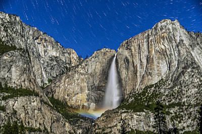 Photograph - Star Trails Over Yosemite Falls Moonbow by Cat Connor