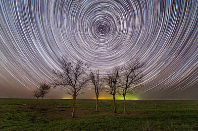 Motion Star Photograph - Star Trails Under The Trees by Yuri Zvezdny