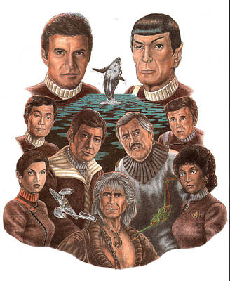 Scotty Drawing - Star Trek 25th Anniversary by Jonathan W Brown