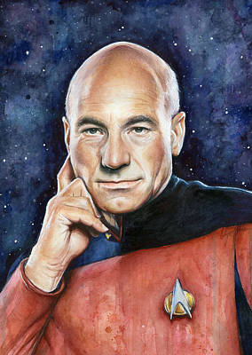 Stars Painting - Captain Picard Portrait by Olga Shvartsur