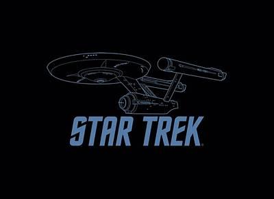 Enterprise Digital Art - Star Trek - Enterprise Outline by Brand A