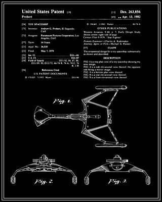 Klingon Wall Art - Digital Art - Star Trek Klingon Fighter Toy Figure Patent - Black by Finlay McNevin