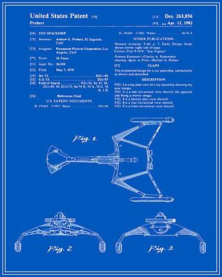 Klingon Wall Art - Digital Art - Star Trek Klingon Fighter Toy Figure Patent - Blueprint by Finlay McNevin