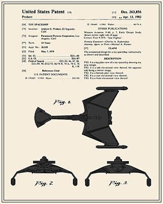 Klingon Wall Art - Digital Art - Star Trek Klingon Fighter Toy Figure Patent - Colour by Finlay McNevin
