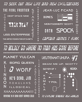Star Trek Remembered In Grey Art Print by Georgia Fowler