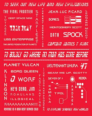 Klingon Wall Art - Digital Art - Star Trek Remembered In Red by Georgia Fowler
