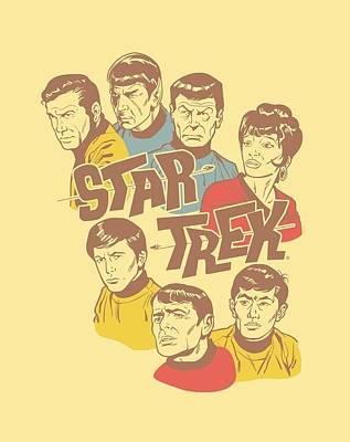 Show Digital Art - Star Trek - Retro Illustrated Crew by Brand A