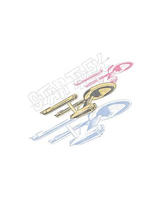 Enterprise Digital Art - Star Trek - Retro Tri Enterprise by Brand A