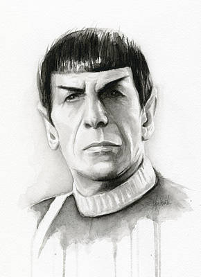 Vulcan Painting - Star Trek Spock Portrait by Olga Shvartsur