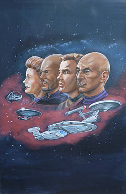Painting - Star Trek Tribute Captains by Bryan Bustard
