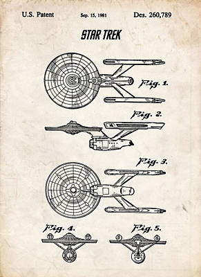 Star Trek Uss Enterprise Patent Art Art Print