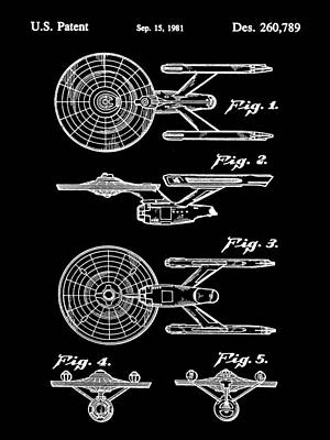 Star Trek Uss Enterprise Toy Patent 1981 - Black Art Print by Stephen Younts