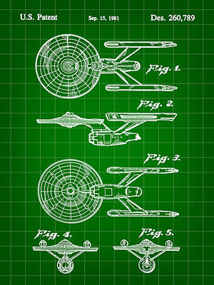 Star Trek Uss Enterprise Toy Patent 1981 - Green Art Print by Stephen Younts