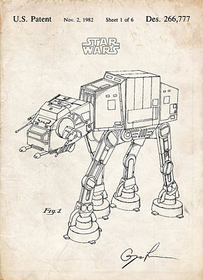 Collectible Mixed Media - Star Wars At-at Imperial Walker Patent Art by Stephen Chambers