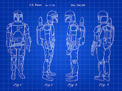 Chewbacca Digital Art - Star Wars Boba Fett Patent 1982 - Blue by Stephen Younts
