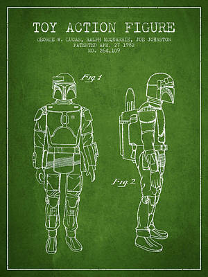 Star Wars Boba Fett Patent From 1982 - Green Art Print by Aged Pixel