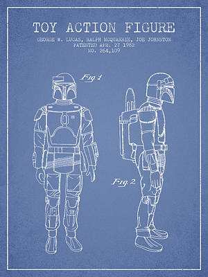 Science Fiction Royalty-Free and Rights-Managed Images - Star Wars Boba Fett patent from 1982 - Light Blue by Aged Pixel