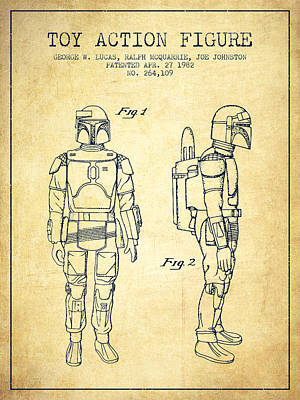 Science Fiction Royalty-Free and Rights-Managed Images - Star Wars Boba Fett patent from 1982 - Vintage by Aged Pixel