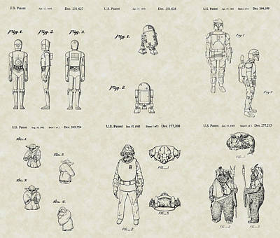 Ewok Drawing - Star Wars Characters Patent Collection by PatentsAsArt
