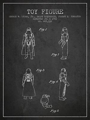 Star Wars Darth Vader Patent From 1982 - Charcoal Art Print