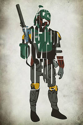 Movie Stars Drawings Painting - Star Wars Inspired Boba Fett Typography Artwork by Ayse Deniz