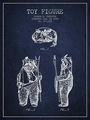 Rock Royalty - Star Wars Toy Figure no4 patent drawing from 1985 - Navy Blue by Aged Pixel