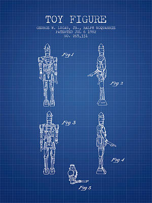 Science Fiction Royalty-Free and Rights-Managed Images - Star Wars Toy Figure no5 patent drawing from 1982 - Blueprint by Aged Pixel