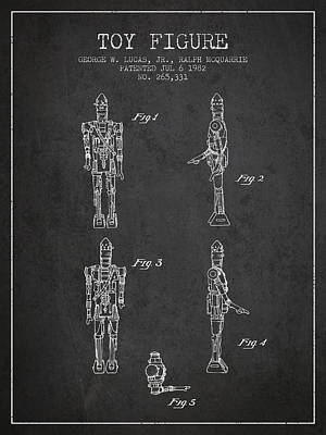 Science Fiction Royalty-Free and Rights-Managed Images - Star Wars Toy Figure no5 patent drawing from 1982 - Charcoal by Aged Pixel