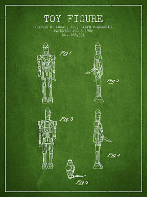 Science Fiction Royalty-Free and Rights-Managed Images - Star Wars Toy Figure no5 patent drawing from 1982 - Green by Aged Pixel